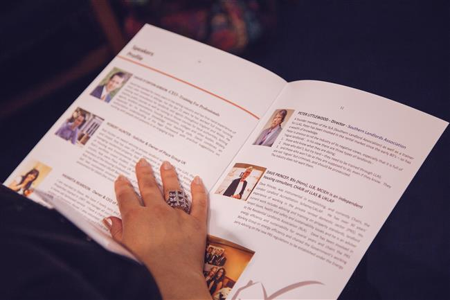 Event Brochure, insert Speakers profiles
