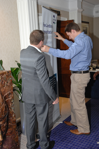 Marcus & Luke from Endsleigh one of the sponsors putting up their banner