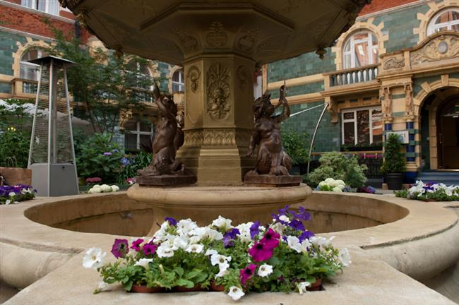 Beautiful fountain in the court yard