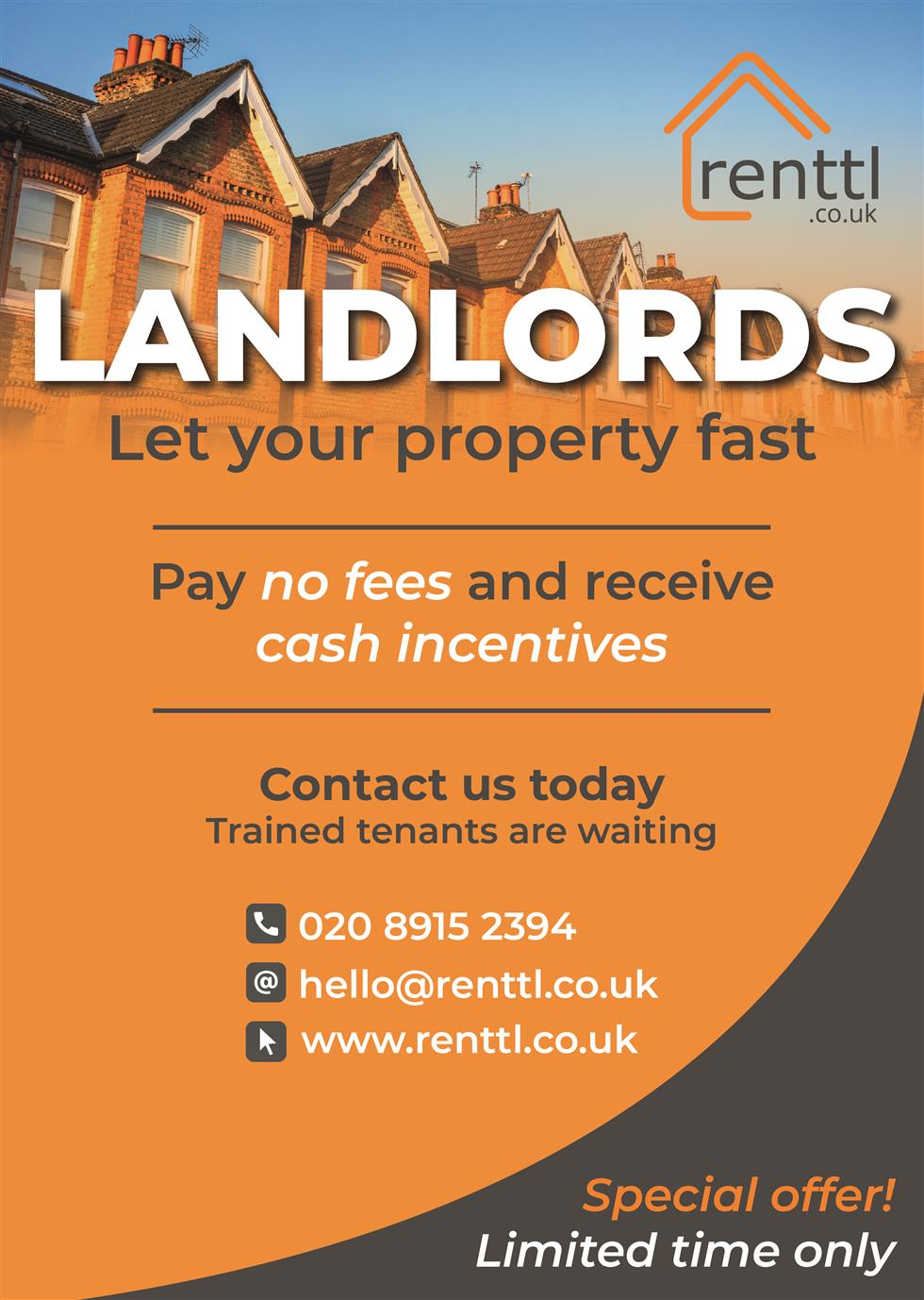 Let Fast ✓ Cash Incentives ✓ No Fees ✓ - renttl.co.uk - perfectly matching tenants to landlords